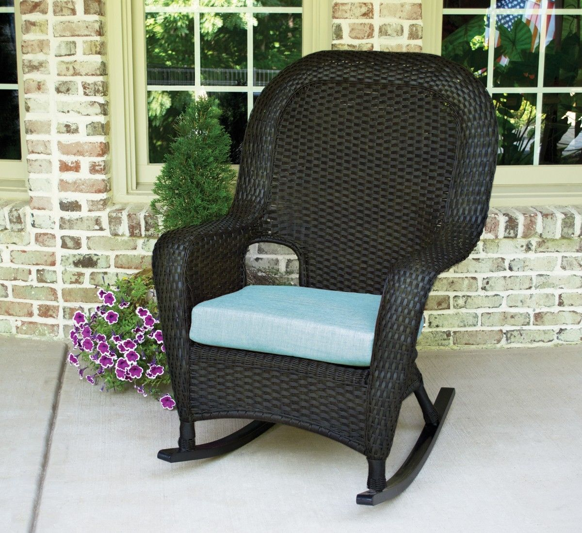 #82 - Outdoor Patio Garden Furniture Tortoise Resin Wicker Rocking Chair in Rave Spearmint