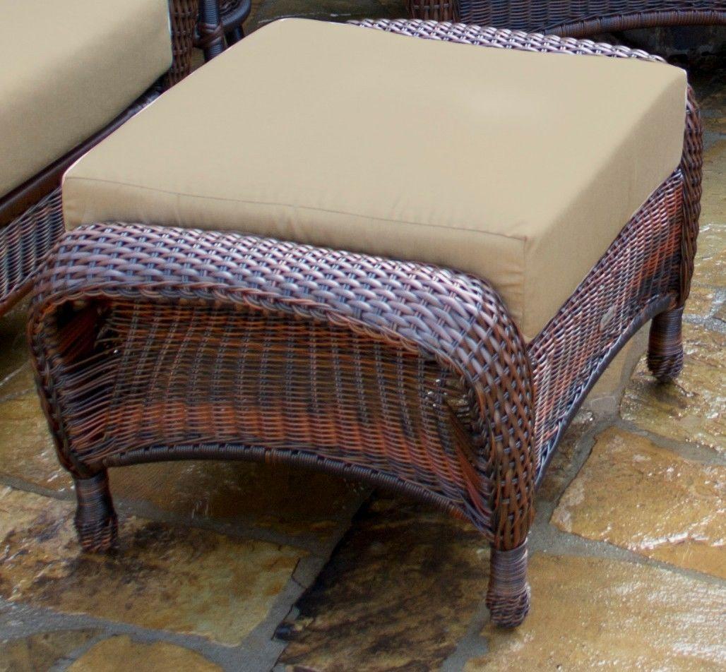 #128 - Outdoor Patio Garden Furniture Java Resin Wicker Ottoman in Heather Beige