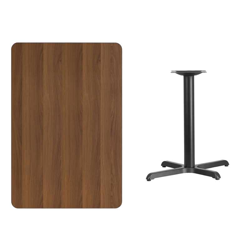 #182 - 30'' X 45'' RECTANGULAR WALNUT LAMINATE TABLE TOP WITH 22'' X 30'' TABLE HEIGHT BASE