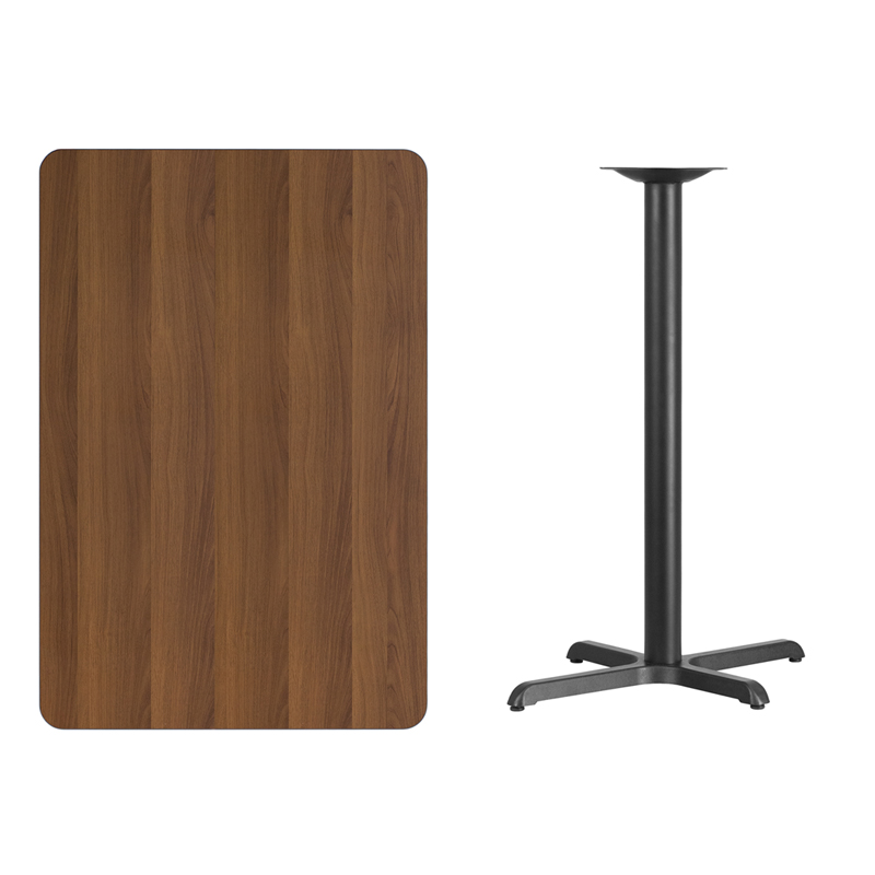 #183 - 30'' X 45'' RECTANGULAR WALNUT LAMINATE TABLE TOP WITH 22'' X 30'' BAR HEIGHT BASE
