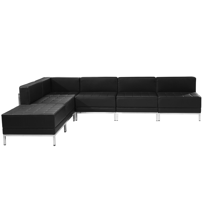 #42 - 6 Piece Imagination Series Black Leather Sectional Configuration