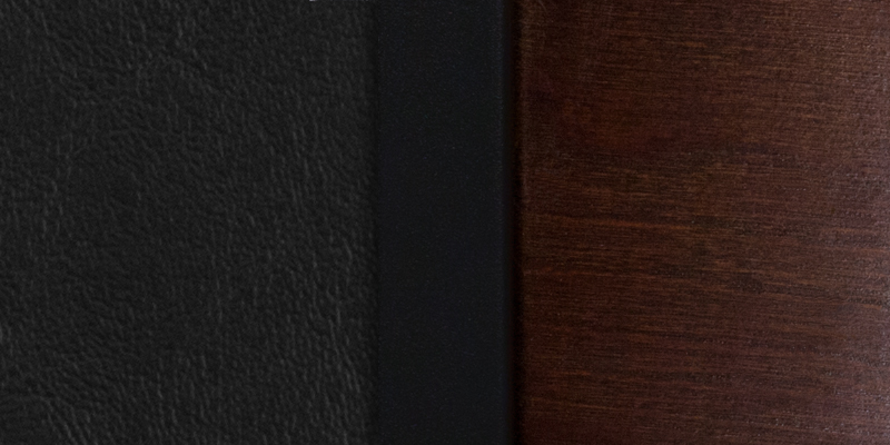 #7 - DECORATIVE 3 CIRCLE BACK METAL RESTAURANT CHAIR - WALNUT WOOD & BLACK VINYL