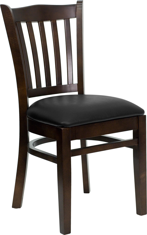 #22 - WALNUT WOOD FINISHED VERTICAL SLAT BACK RESTAURANT CHAIR WITH BLACK VINYL SEAT