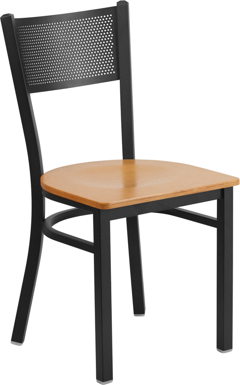 #95 - Black Grid Back Metal Restaurant Chair with a Natural Finish Wood Seat