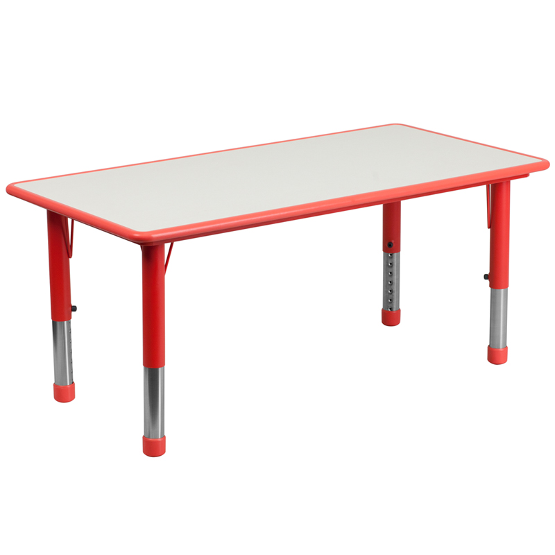 #9 - 23.625''W X 47.25''L HEIGHT ADJUSTABLE RECTANGULAR RED PLASTIC ACTIVITY TABLE WITH GREY TOP