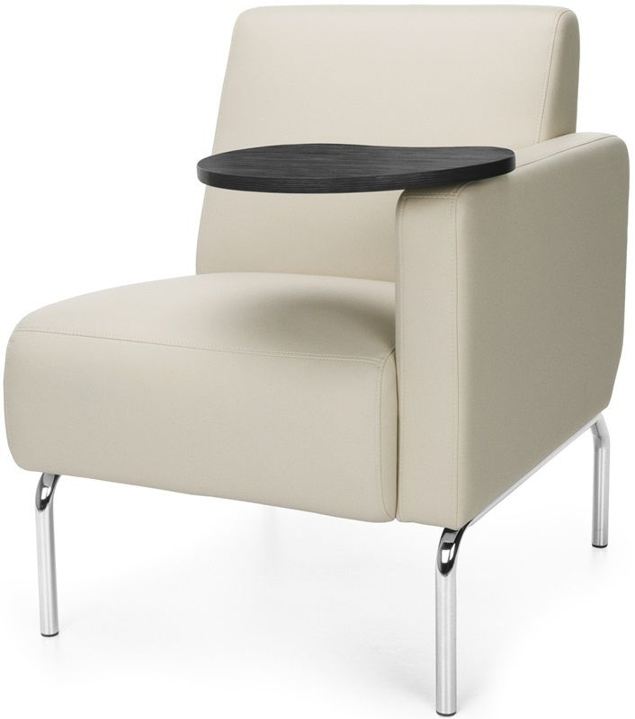 #185 - Left Arm Modular Lounge Chair with Cream Vinyl Seat with Tungsten Finish Tablet