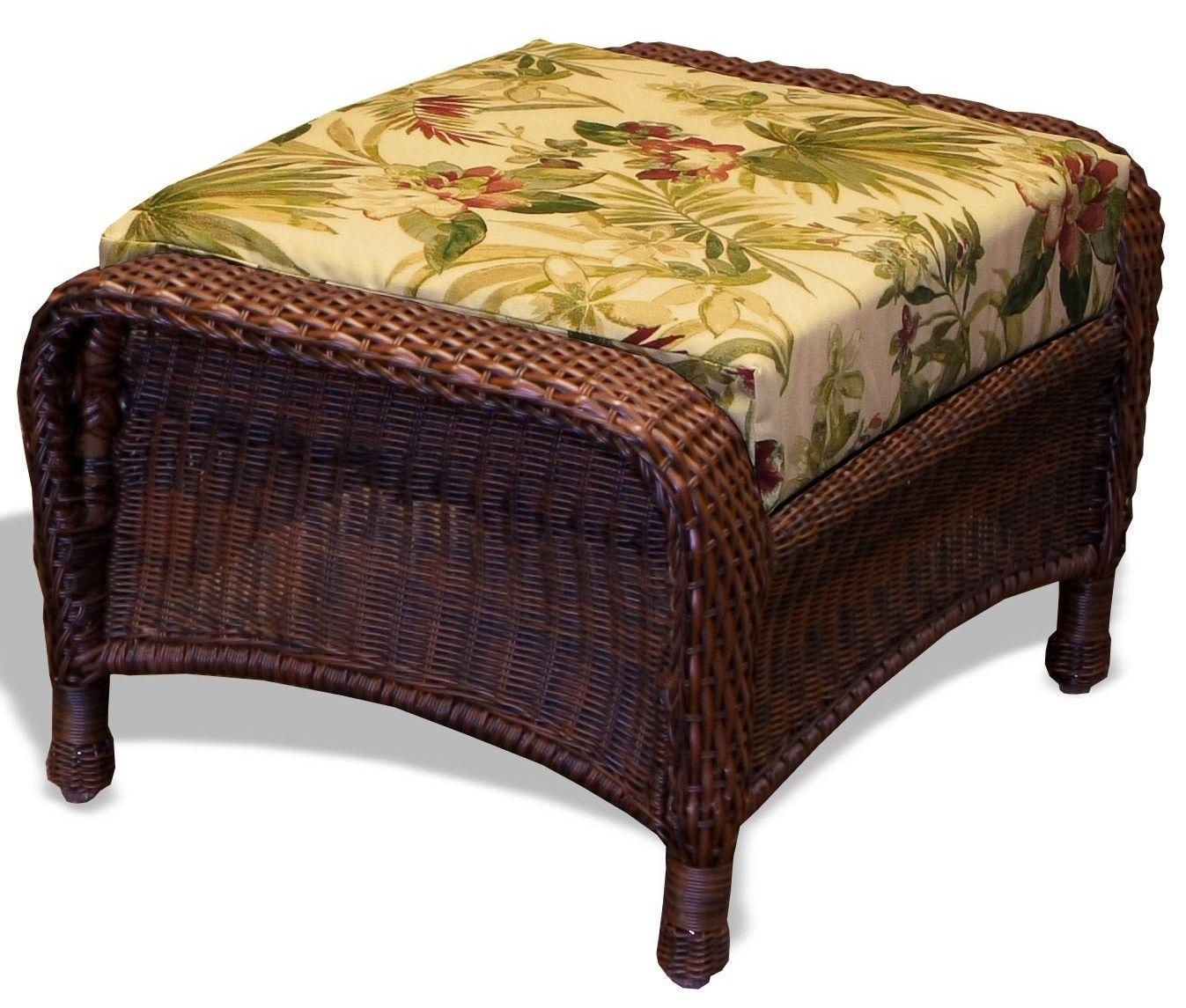 #129 - Outdoor Patio Garden Furniture Java Resin Wicker Ottoman Isadora Parchment