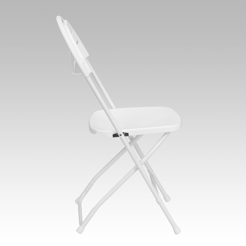 #18 - 650 LB. CAPACITY FAN BACK WHITE PLASTIC FOLDING CHAIR