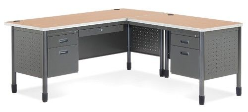 #5 - Mesa Series Secretarial Office Desk with Maple Top and Right Return