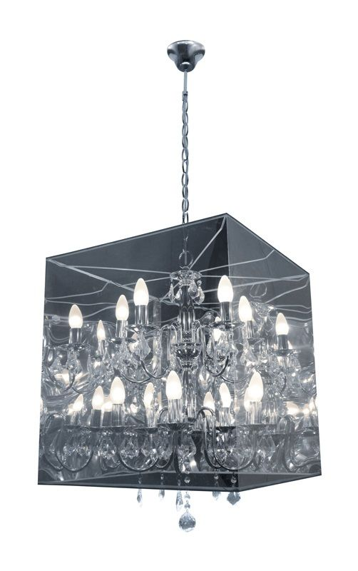 #116 - Contemporary Boxed Chandelier w/Hanging Crystals & Metallic Shade - Home Decor