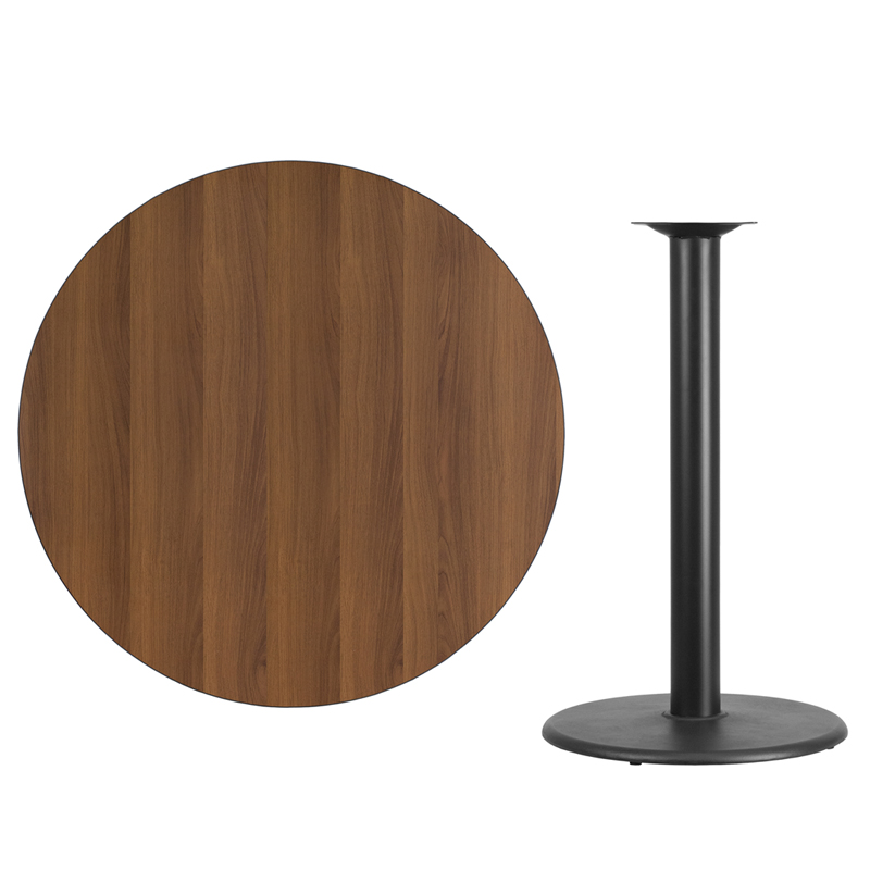 #63 - 42'' Round Walnut Laminate Table Top with 24'' Round Bar Height Base