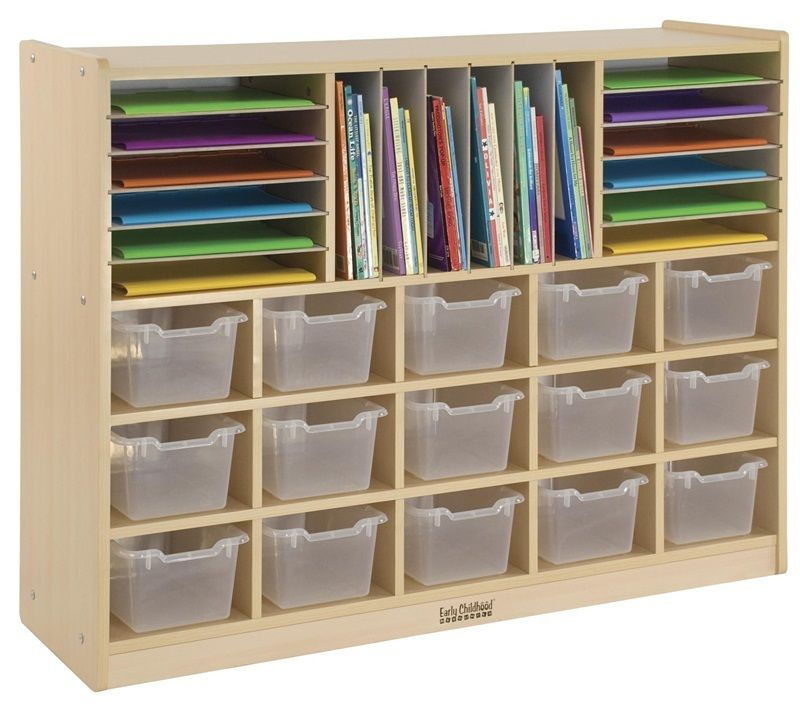 #30 - Multi-Section Storage Cabinet with 15 Clear Bins