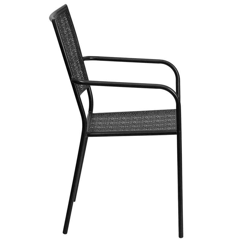 #89 - Indoor & Outdoor Black Metal Restaurant, Patio Stack Chair with Arm & Square Back