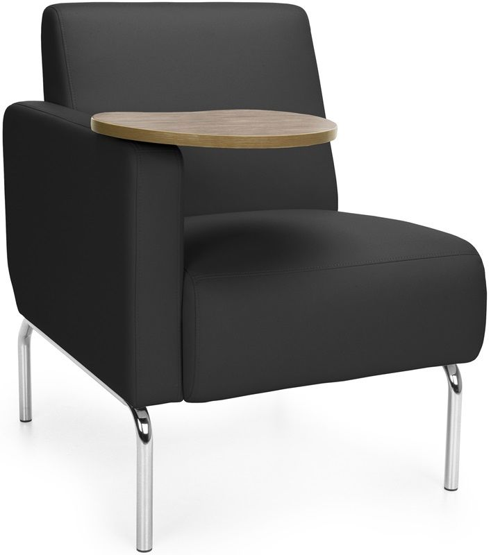 #186 - Right Arm Modular Lounge Chair with Black Vinyl Seat with Bronze Finish Tablet