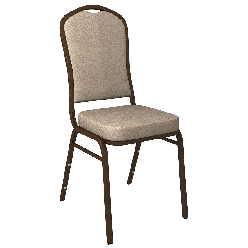 #27 - MONTGOMERY MUSHROOM FABRIC UPHOLSTERED CROWN BACK BANQUET CHAIR - GOLD VEIN FRAME