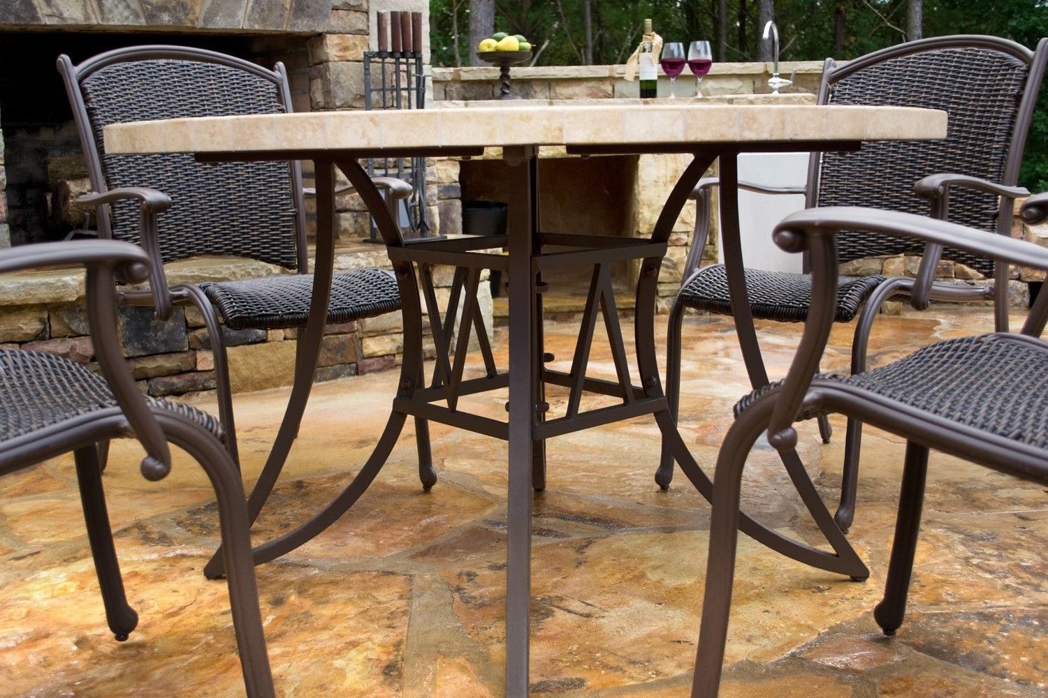 #47 - 5 Piece Outdoor Patio Garden Furniture Dining Table and Chairs Set