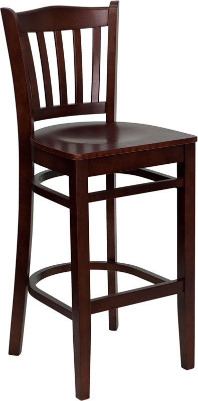 #18 - MAHOGANY WOOD FINISHED VERTICAL SLAT BACK RESTAURANT BAR STOOL WITH WOOD SEAT