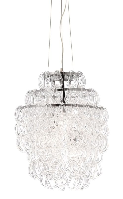 #118 - Stylish Ceiling Lamp w/Crystallized Loops Made From Glass Chains - Home Decor