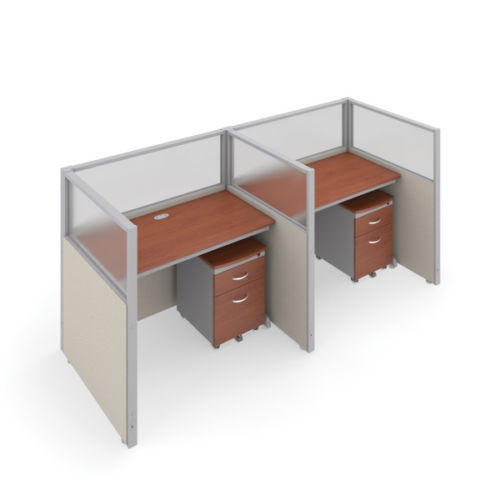 #5 - 47'' H x 48'' W Rize 2 Office Cubicle WorkStation in Beige Vinyl w/Cherry Finish