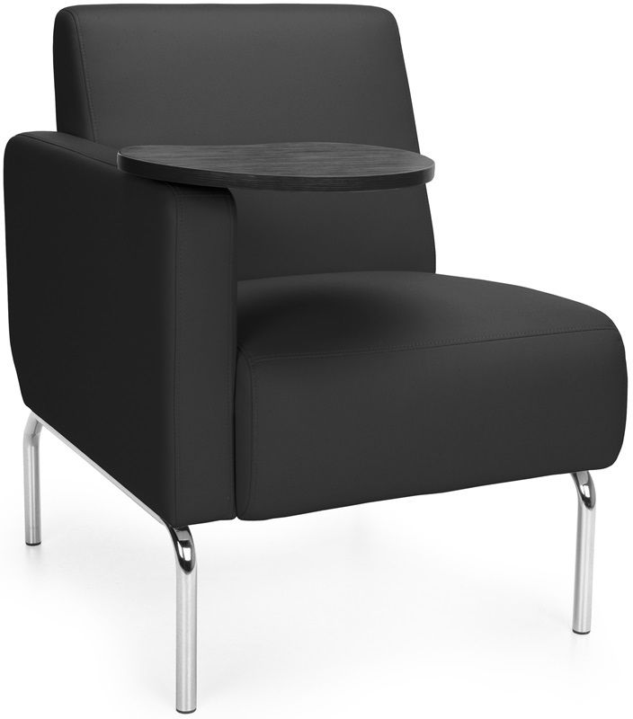 #187 - Right Arm Modular Lounge Chair with Black Vinyl Seat with Tungsten Finish Tablet