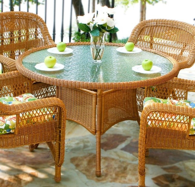 #26 - 5 Piece Outdoor Patio Southwest Amber Resin Wicker Dining Set w/ Saltilla Fabric