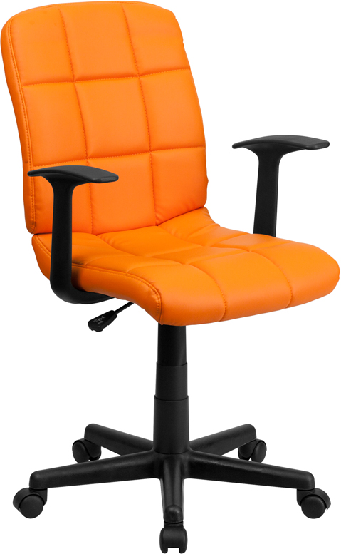 #133 - MID-BACK ORANGE QUILTED VINYL TASK CHAIR WITH NYLON ARMS