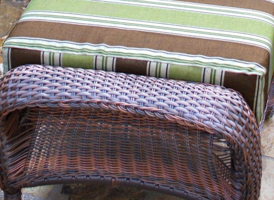 #130 - Outdoor Patio Garden Furniture Java Resin Wicker Ottoman in Landry