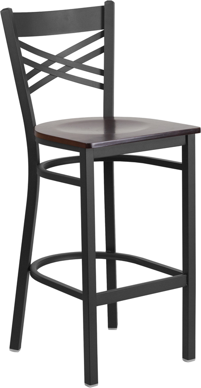 #34 - Black ''X'' Back Metal Restaurant Barstool with a Walnut Finish Wood Seat