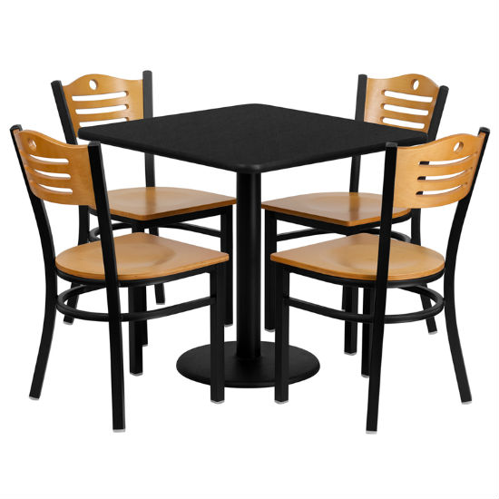 #89 - 30'' SQUARE BLACK LAMINATE TABLE SET WITH 4 WOOD SLAT BACK METAL CHAIRS - NATURAL WOOD SEAT
