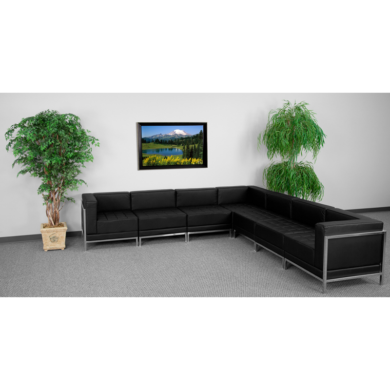 #43 - 7 Piece Imagination Series Black Leather Sectional Configuration