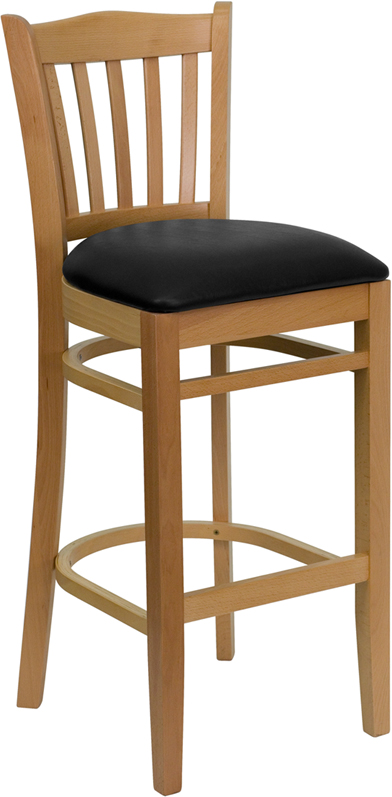 #19 - NATURAL WOOD FINISHED VERTICAL SLAT BACK RESTAURANT BAR STOOL WITH BLACK VINYL