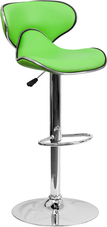 #130 - CONTEMPORARY COZY MID-BACK GREEN VINYL ADJUSTABLE HEIGHT BAR STOOL WITH CHROME BASE
