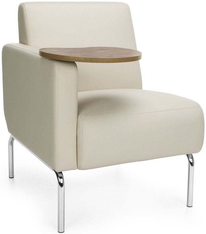 #190 - Right Arm Modular Lounge Chair with Cream Vinyl Seat with Bronze Finish Tablet