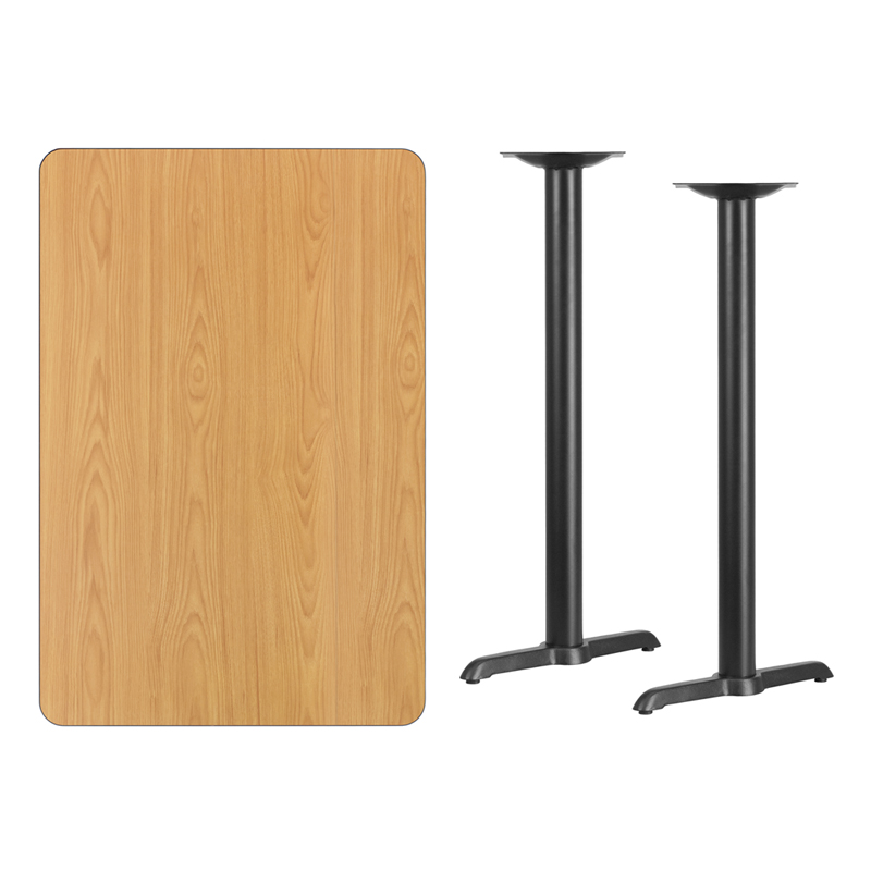 #189 - 30'' X 45'' RECTANGULAR NATURAL LAMINATE TABLE TOP WITH 5'' X 22'' BAR HEIGHT BASES