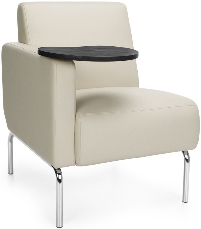 #191 - Right Arm Modular Lounge Chair with Cream Vinyl Seat with Tungsten Finish Tablet
