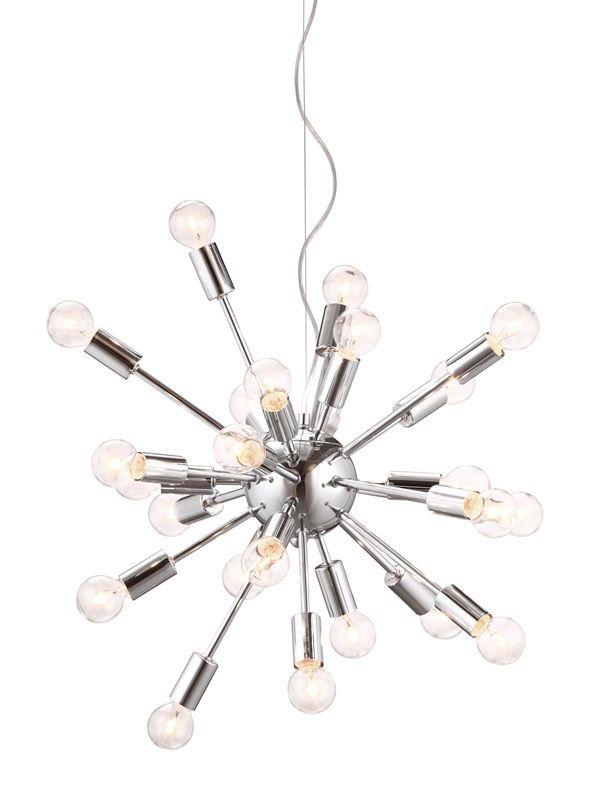 #122 - Unique Orbital Style Ceiling Lamp Made of Chrome w/25 Watt Bulbs - Home Decor