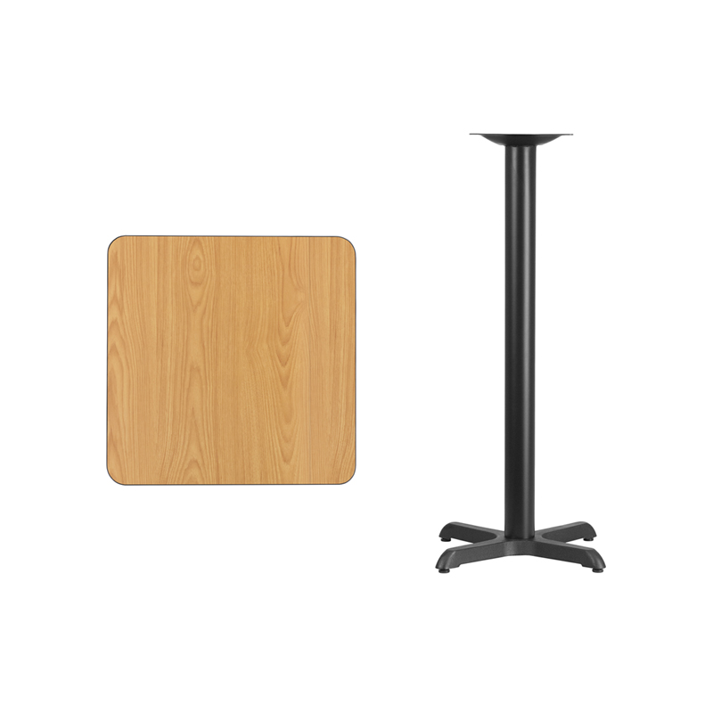 #69 - 24'' SQUARE NATURAL LAMINATE TABLE TOP WITH 22'' X 22'' BAR HEIGHT BASE