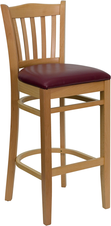 #20 - NATURAL WOOD FINISHED VERTICAL SLAT BACK RESTAURANT BAR STOOL WITH BURGUNDY VINYL