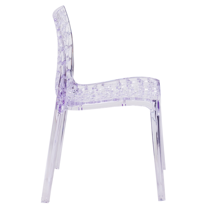 #8 - Crystal Clear Plastic Artistic Design Stacking Dining/Side Chair in Transparent Crystal