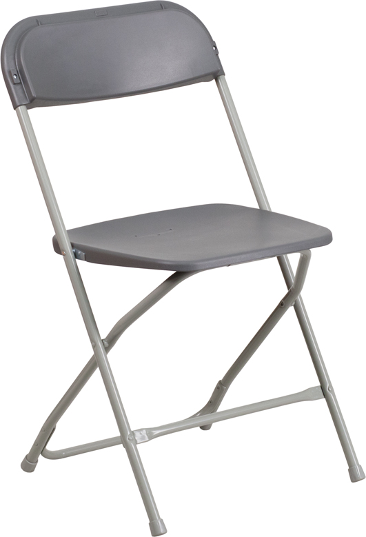 #6 - 650 LB. CAPACITY GRAY PLASTIC FOLDING CHAIR