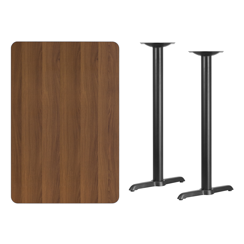 #191 - 30'' X 45'' RECTANGULAR WALNUT LAMINATE TABLE TOP WITH 5'' X 22'' BAR HEIGHT BASES