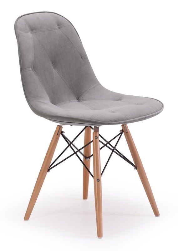 #123 - Eames Style Design Dining Chair in Gray with Velour Seat - Home Furniture