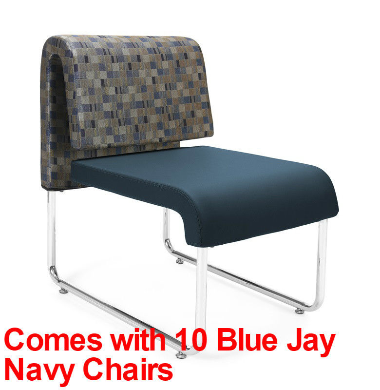 #22 - (15 PCS)UNO Series Lounge Set w/Blue Jay Navy Chairs & Windswept Bronze Tables