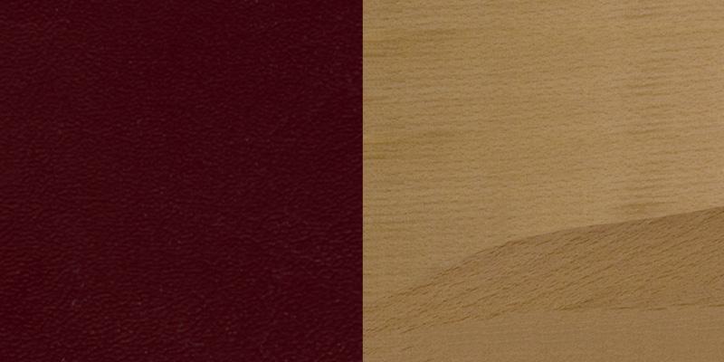 #20 - NATURAL WOOD FINISHED VERTICAL SLAT BACK RESTAURANT BAR STOOL WITH BURGUNDY VINYL