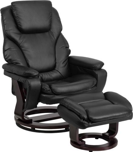 #43 - Contemporary Black Leather Recliner and Ottoman - Swiveling Mahogany Wood Base