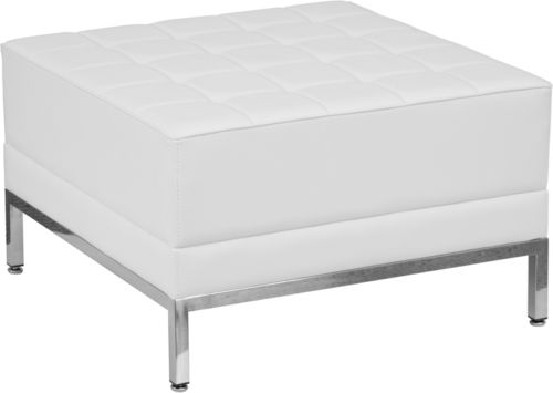 #108 - Imagination Series White Leather Ottoman Chair