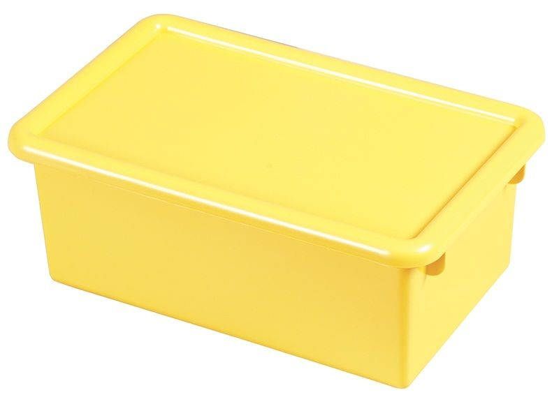 #73 - (12 Pack) Heavy Duty Polypropylene Plastic Storage Tubs with Lids in Yellow