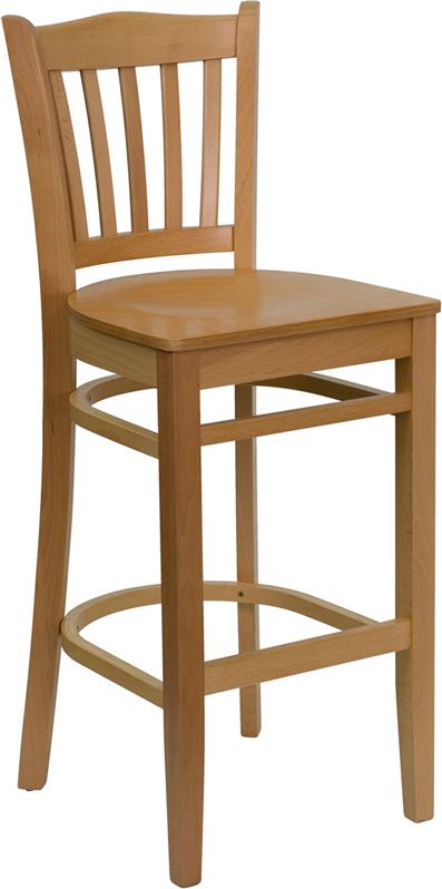#21 - NATURAL WOOD FINISHED VERTICAL SLAT BACK RESTAURANT BAR STOOL WITH WOOD SEAT