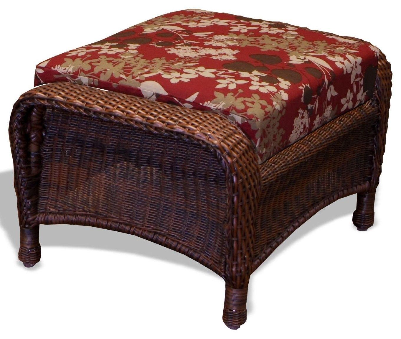 #133 - Outdoor Patio Garden Furniture Java Resin Wicker Ottoman in Montfleuri Sangria