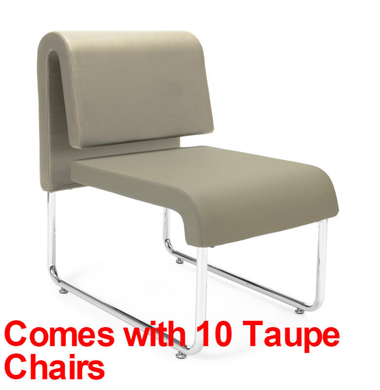#21 - (15 PCS)UNO Series Lounge Circle Package w/Taupe Chairs & Painted Screen Tables